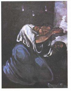 Gemälde: zusammemgekauerte Person