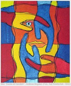 buntes, abstraktes Bild zeigt vier Hände um einen Gesicht,