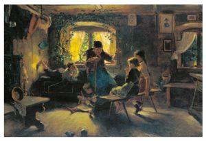 Gemälde: Kinder sitzen um eine alte Frau und hören zu